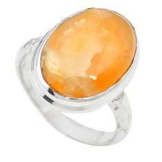 Natural orange calcite 925 sterling silver ring jewelry size 7 m59686