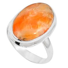 Natural orange calcite 925 sterling silver ring jewelry size 8.5 m59687