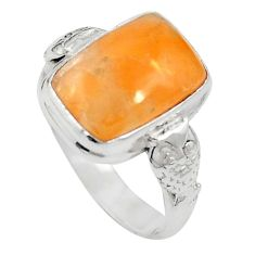 Natural orange calcite 925 sterling silver ring jewelry size 7 m59688