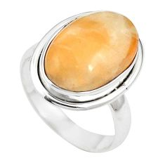 Natural orange calcite 925 sterling silver ring jewelry size 6.5 m59690