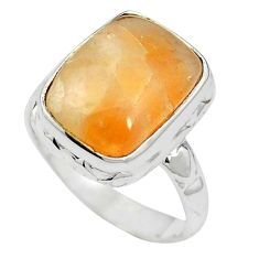 Natural orange calcite 925 sterling silver ring jewelry size 6 m59692