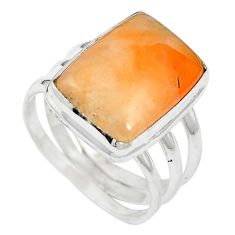 Natural orange calcite 925 sterling silver ring jewelry size 7.5 m59693