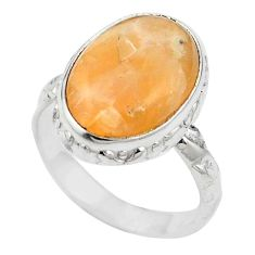 Natural orange calcite 925 sterling silver ring jewelry size 6.5 m59694