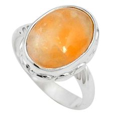 Natural orange calcite 925 sterling silver ring jewelry size 6.5 m59695
