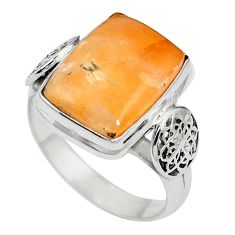 Natural orange calcite 925 sterling silver ring jewelry size 8.5 m59696