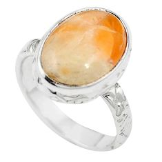 925 sterling silver natural orange calcite oval ring jewelry size 6.5 m59698