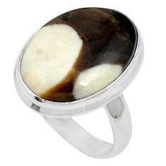 Natural brown peanut petrified wood fossil 925 silver ring size 8 m59701