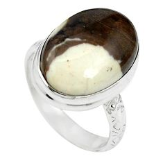 Natural brown peanut petrified wood fossil 925 silver ring size 6 m59703