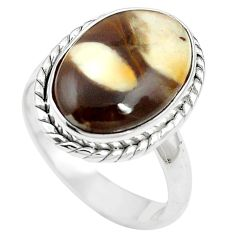 Natural brown peanut petrified wood fossil 925 silver ring size 8 m59708
