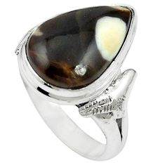 925 silver natural brown peanut petrified wood fossil ring size 7.5 m59711