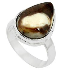 Natural brown peanut petrified wood fossil 925 silver ring size 6 m59712