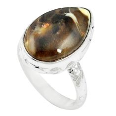 Natural brown peanut petrified wood fossil 925 silver ring size 7 m59713