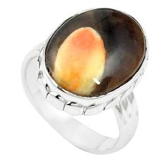 Natural brown peanut petrified wood fossil 925 silver ring size 7.5 m59716