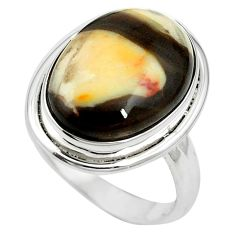 925 silver natural brown peanut petrified wood fossil oval ring size 7 m59717