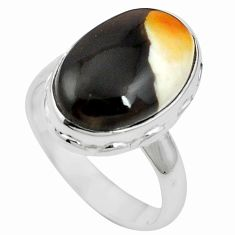 Natural brown peanut petrified wood fossil 925 silver ring size 7 m59719