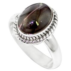 Natural black cat's eye sillimanite oval 925 silver ring size 6.5 m59823