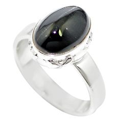 925 silver natural black cat's eye sillimanite ring jewelry size 6 m59824