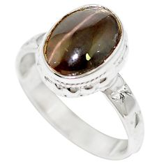 Natural black cat's eye sillimanite 925 sterling silver ring size 6.5 m59825