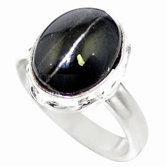 Natural black cat's eye sillimanite 925 sterling silver ring size 6.5 m59837