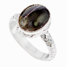 925 silver natural black cat's eye sillimanite ring jewelry size 6 m59840
