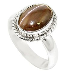 925 sterling silver natural black cat's eye sillimanite ring size 6.5 m59844