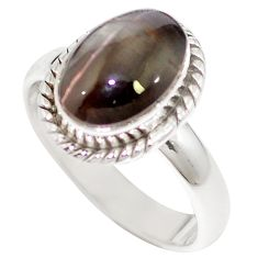 Natural black cat's eye sillimanite 925 silver ring jewelry size 7 m59847