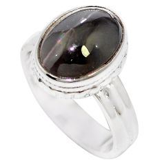 Natural black cat's eye sillimanite 925 silver ring jewelry size 6.5 m59852