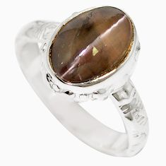 Natural black cat's eye sillimanite 925 silver ring jewelry size 5.5 m59854