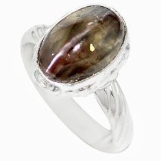 Natural black cat's eye sillimanite 925 silver ring jewelry size 6 m59858