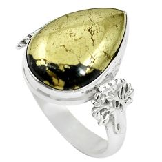 925 silver natural pyrite in magnetite (healer's gold) pear ring size 6.5 m59937