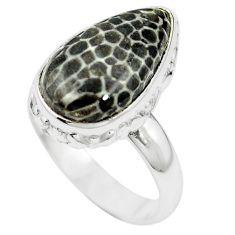 Natural black stingray coral from alaska 925 silver ring size 6.5 m59948
