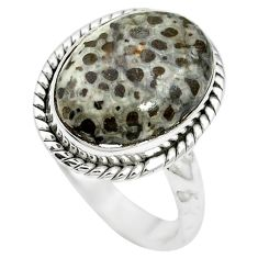 925 silver natural black stingray coral from alaska oval ring size 6 m59959