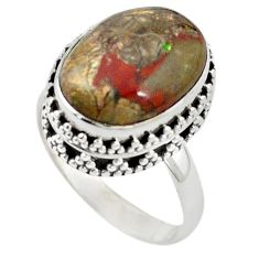 925 sterling silver natural brown mushroom rhyolite oval ring size 8.5 m6023