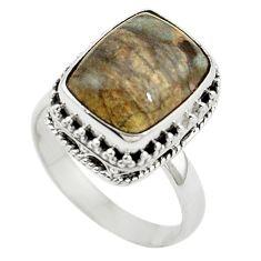 Natural brown mushroom rhyolite 925 sterling silver ring size 7.5 m6025