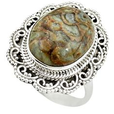 925 sterling silver natural brown mushroom rhyolite ring jewelry size 8.5 m6027
