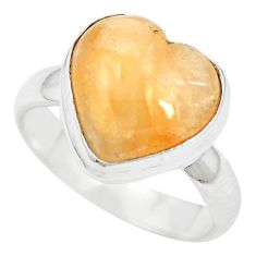 925 sterling silver natural orange calcite heart ring jewelry size 6 m60284
