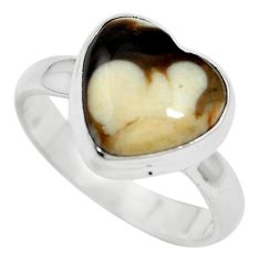 Natural brown peanut petrified wood fossil heart 925 silver ring size 6.5 m60290