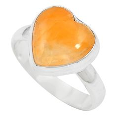 Natural orange calcite heart 925 sterling silver ring jewelry size 6.5 m60299