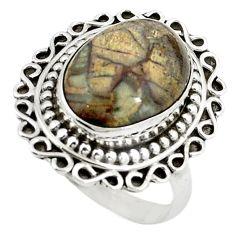 Natural brown mushroom rhyolite 925 sterling silver ring size 7 m6030