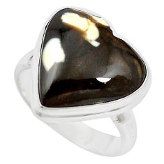 Natural brown peanut petrified wood fossil heart 925 silver ring size 6 m60302