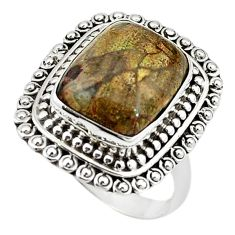 Natural brown mushroom rhyolite 925 sterling silver ring size 8 m6032