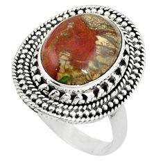 Natural brown mushroom rhyolite 925 sterling silver ring size 9 m6036