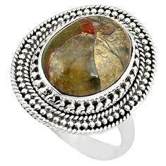 925 sterling silver natural brown mushroom rhyolite ring jewelry size 8.5 m6037