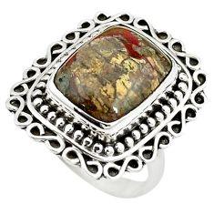 Natural brown mushroom rhyolite 925 sterling silver ring size 7 m6039