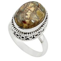 925 sterling silver natural brown mushroom rhyolite ring jewelry size 7 m6040