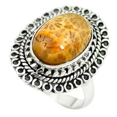 Natural fossil coral (agatized) petoskey stone 925 silver ring size 8 m60741