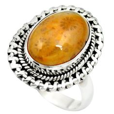 Natural fossil coral (agatized) petoskey stone 925 silver ring size 8 m60742