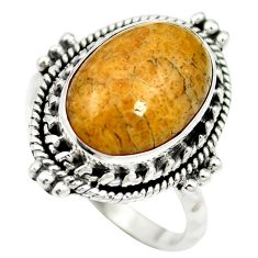 Natural fossil coral (agatized) petoskey stone 925 silver ring size 6 m60748