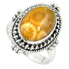 Natural fossil coral (agatized) petoskey stone 925 silver ring size 7.5 m60749