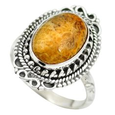 925 silver natural fossil coral (agatized) petoskey stone ring size 8 m60750